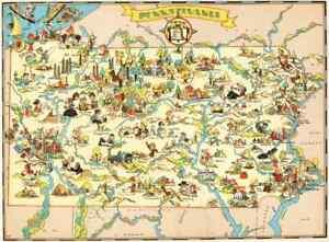 Pennsylvania Antique Vintage Pictorial Map