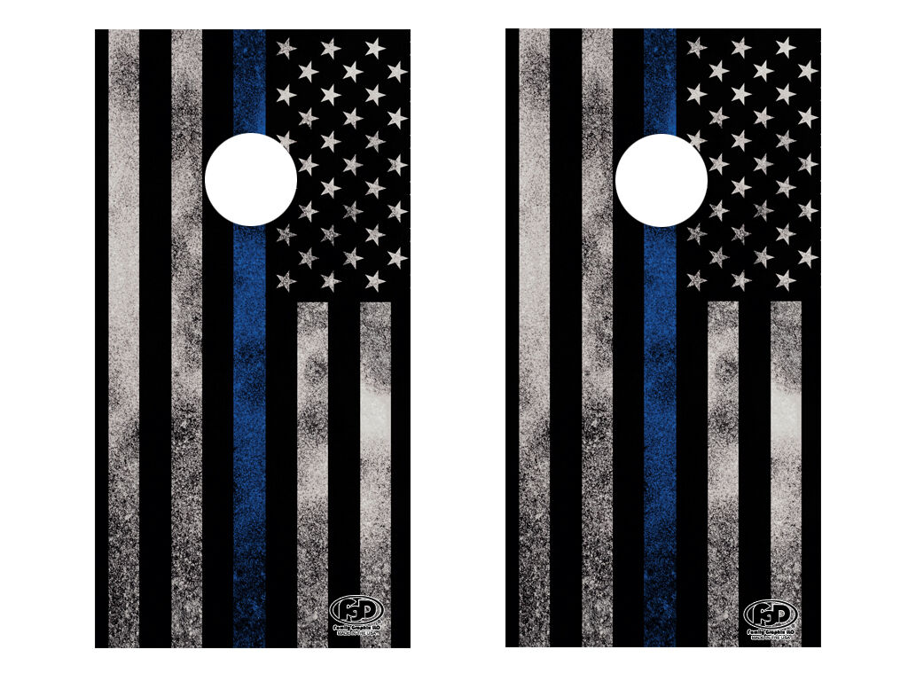 FGD Cornhole Wrap Police Thin bluee Line  Design LAMINATED Vinyl Decal  save up to 70%