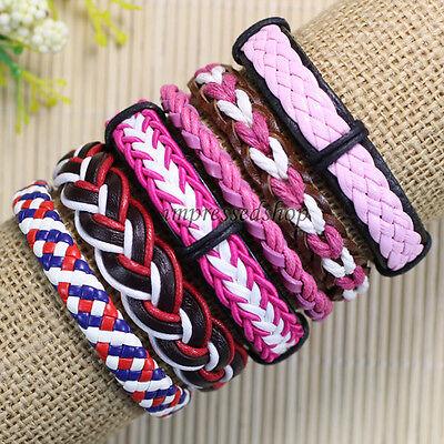 6pcs Free shipping Handmade Weave Wrap Genuine leather bracelet for women-D101