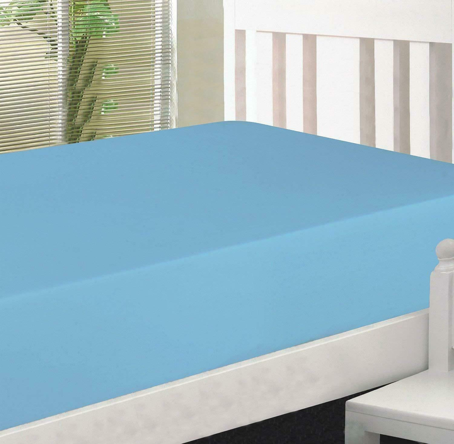 FittedSheet 15 Deep Pkt Elastic All Around FullXL 100%Cotton 600 TC bluee Solid
