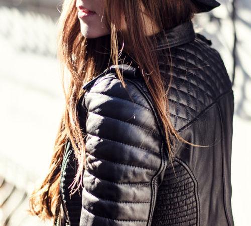 Giacca Donna Moda Designer Agnello Pelle Nero Imbottito Di xX4rW4qY8w