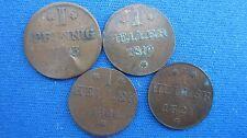 Lot Frankfurt 1 Pfennig 1793, 1 Heller 1819, 1820, 1821 in ss bis vz ! (F74)