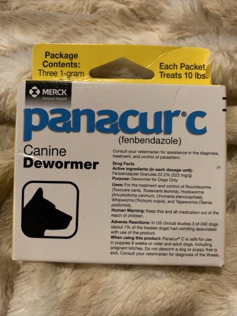 Panacur C Canine 1 Gram Dewormer Treatment 3-pack EXP 08/2022