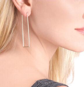 Rectangular silver earrings minimalist earrings modern style earrings geometric earrings