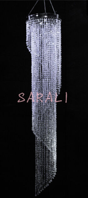 Iridescent Spiral Chandelier Wedding Centerpiece Acrylic Crystal Diamond cut