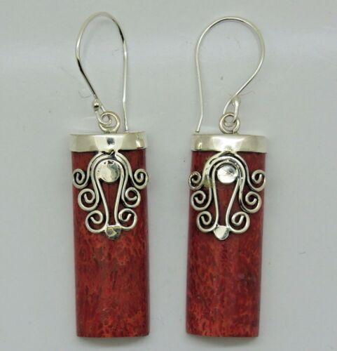 Balinese 925 Sterling Silver /& Red Coral Gemstone Earrings Tribal Jewellery #E69