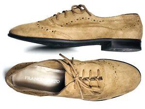 Franco-Sarto-Tevi-8-5-Tan-Suede-Oxford-Brogue-Round-Soft-Lace-Up-Derby-Brown