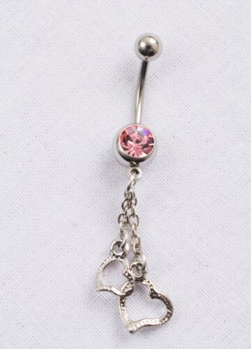 Silver Double Heart Navel Belly Bars w// Pink Blue Crystal Piercing Jewllery