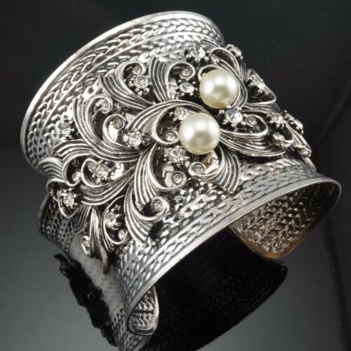 Antique Metal Silver Tone White Faux Pearl Blooming Shape Crystal Cuff Bracelet