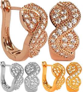 Hoop-Earrings-Crystal-Gold-Silver-Stud-Oval-Womens-Bling-Crystal