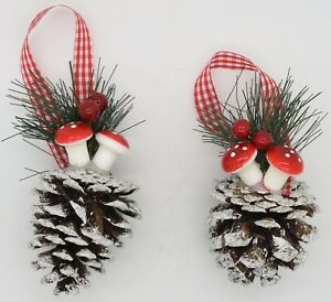 image is loading 2 x hanging pine cone amp toadstool christmas - Red Berry Christmas Tree Decorations