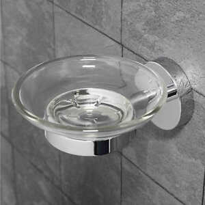 TRADITIONAL STYLE SOLID BRASS CHROME CERAMIC BATHROOM ROUND SOAP DISH HOLDER