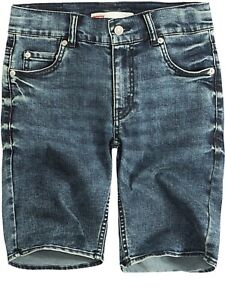 a109740c8a53a3 Image is loading Boys-Dark-Blue-Denim-Stretch-Jeans-Shorts-Levi-