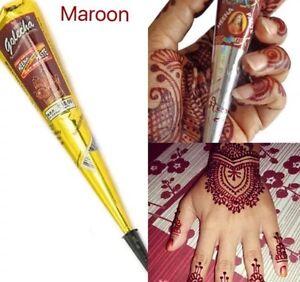 2 Cones Maroon Red Henna Indian Arabic Henna Mehndi Tattoo Cones