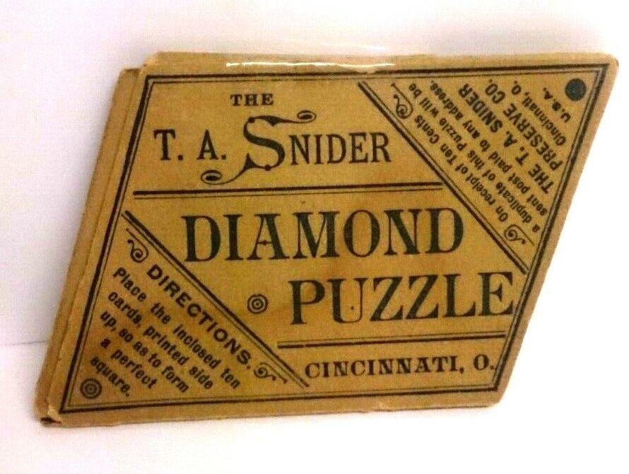 Unique 1890 Vintage, Rare & Antiq The T.A. Snider Diamond Puzzle 10pcs cardboard