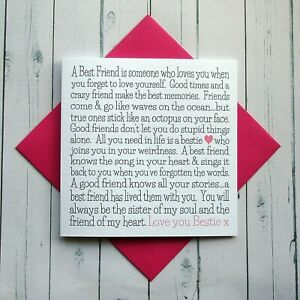 Birthday Card Best Friend Card Friendship Love Friend Card Handmade Card Bestie Ebay