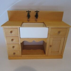Kitchen Sink Unit Wooden Opening Drawers Doll House Miniature
