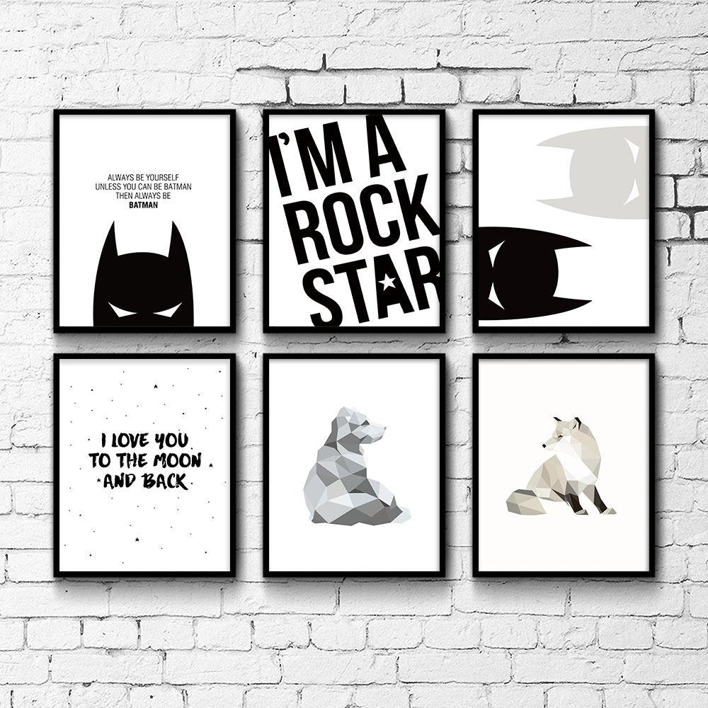 פוסטרים שחור לבן - באטמן , רוק סטאר, גיאומטרים