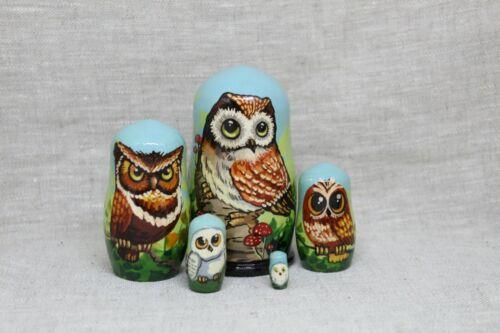 "4/""tall,5 pieces inside . Nesting dolls.Matryoshka /"" Wise Owls/"""