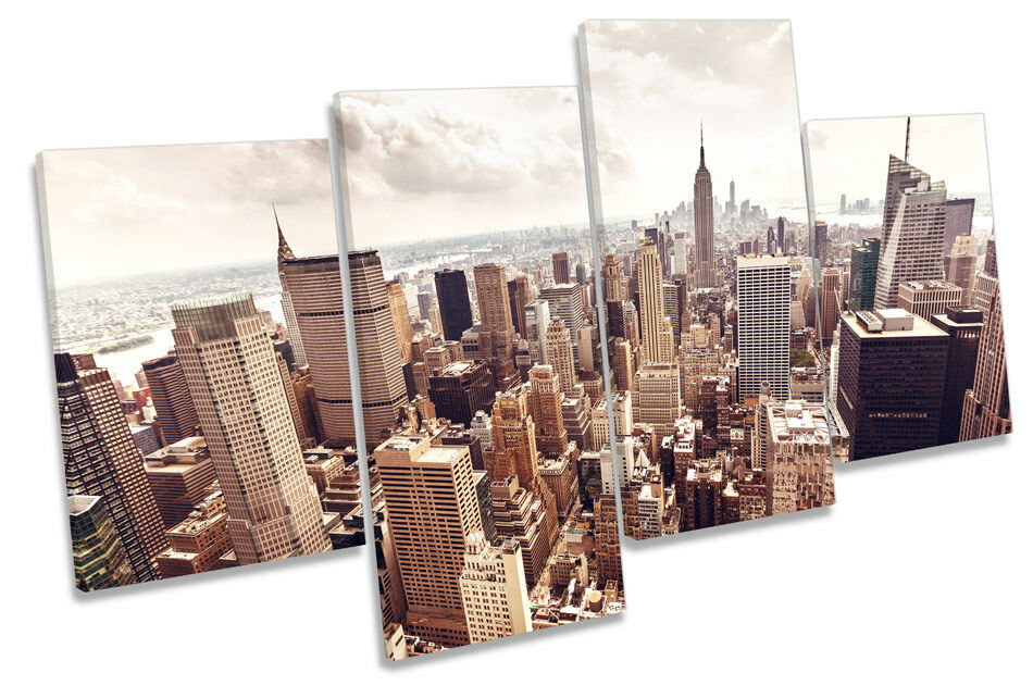 City New York Skyline MULTI CANVAS WALL ART Framed Panel