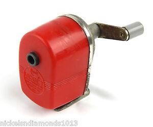 Vintage Apsco Red Midget Pencil Sharpener Wall / Desk Mount MCM Retro Color