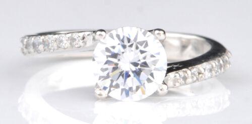 585er Weiß gold 2,50Kt runden Form Gut aussehend Solitär Verlobung Ring