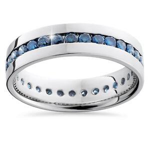 125CT Blue Diamond Channel Set Eternity Mens Wedding Ring Band 14K White Gold