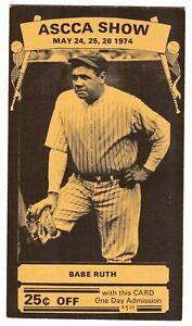 Babe Ruth Original 1974 Ascca Hobby Show Card One Of The