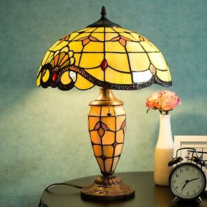 Tiffany-Table-Lamp-Victorian-Double-Lit-Desk-Stained-Glass-Home-Decor-Lighting
