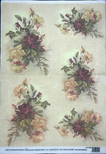 Rice Paper for Decoupage Scrapbooking and Crafts Violet Pink Roses 33x49cm 5003