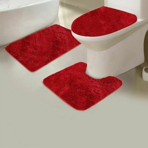 3 Pcs SOFT BATHROOM SET BATH MAT CONTOUR RUG TOILET LID COVER SET