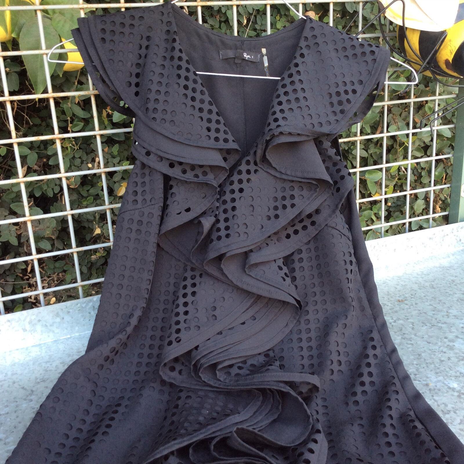 RYU schwarz Ruffles Dress Größe Small