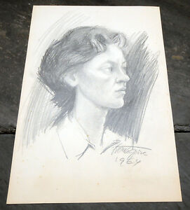Sculptor-France-Gorse-1964-Slovenian-Original-Pencil-Drawing-Sketch-Slovenia