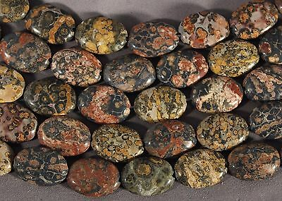 """REMEMBER THESE BEAUTIES LEOPARDSKIN JASPER 18x13mm OVAL BEADS  15.5"""" STRAND"""