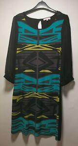 Butterfly-Black-Geometric-Long-Sleeve-A-Line-Dress-Size-12-234