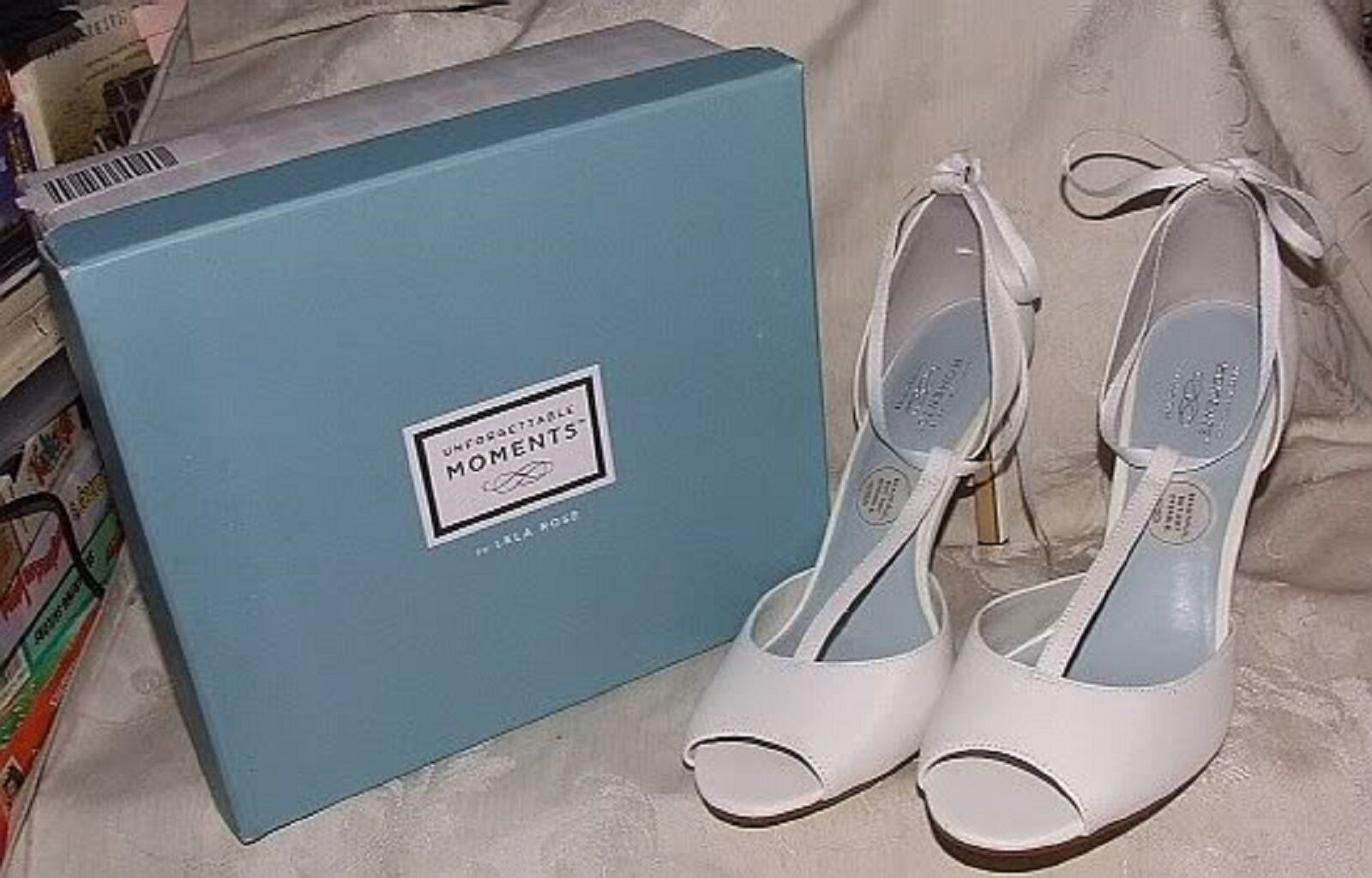 Lela Rose T-Strap Unforgettable Moments 7 DIANA WHITE T-Strap Rose Heels Bridal/Formal Shoes f95884