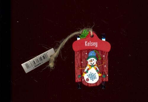 Ganz Snowman Sleigh Sled Ornament Personalized 'KELSEY'  Stocking Stuffer NWT
