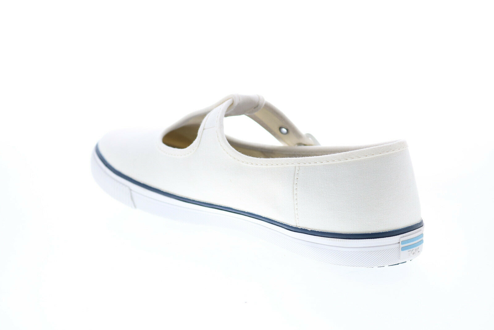 Toms Joon 10015100 Womens White Canvas Flats Mary Jane Shoes