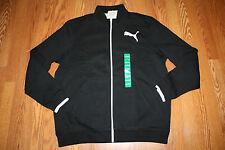 NWT Mens PUMA Black Full Zip Long Sleeve Collared Fleece Jacket Size L Large