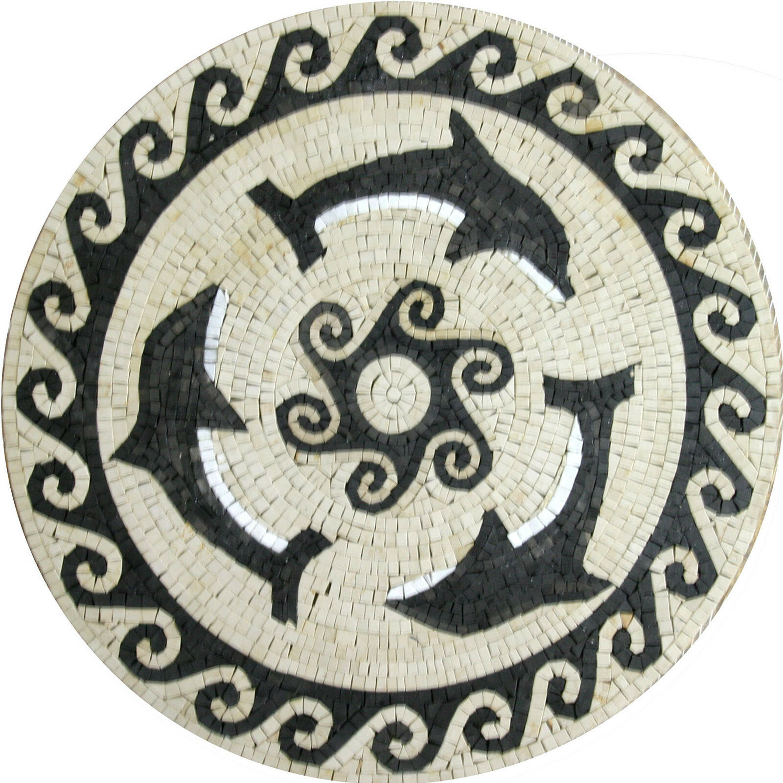 Dolphins Nautical Round Medallion  Tile Marble Mosaic MD1002