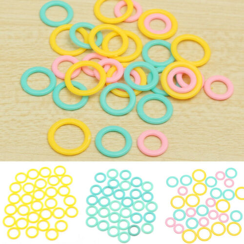 30x Plastic Stitch Marker Holder Ring Circle Weave Sew Knit Crochet Notions Tool