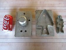 (3) Antique vtg German Cookie Cutters Soldered Tin metal Tree Ginger bread man