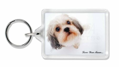Cute Shih-Tzu Dog /'Love You Mum/' Photo Keyring Animal Gift AD-SZ5lymK