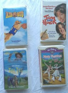 Mary-Poppins-Air-Bud-Tom-and-Huck-Tall-Tale-4-Walt-Disney-Movies-VHS-Tape-Lot