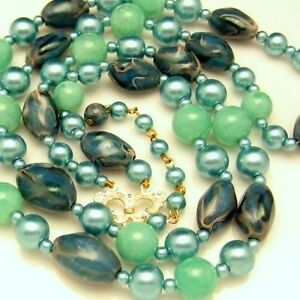 HONG-KONG-Vintage-Beads-Necklace-2-Multi-Strand-Aqua-Teal-Blue-Green
