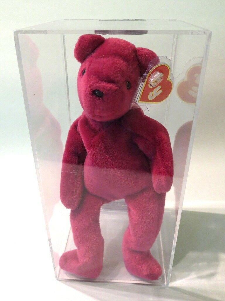Authenticated Ty Beanie 1st Gen Old Face MAGENTA Teddy MWMT MQ & Magnificent