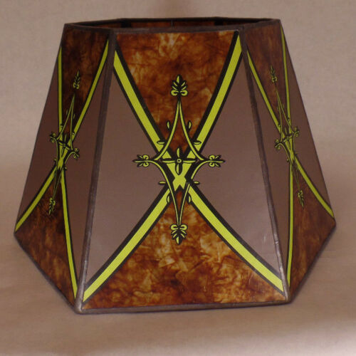 """7/""""x12/""""x7 1//2/"""" Decorated Antique Amber Hexagon Style Mica UNO Floor Lamp Shade"""