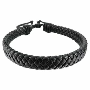 Mens-Womens-Leather-Bracelet-Bangle-Cuff-Rope-Black-Surfer-Wrap-Adjustable-NEW