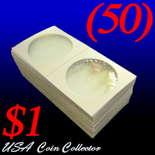 Large Dollar Size 2x2 Mylar Cardboard Coin Flips for Storage$1 Holder 50