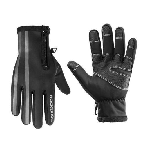 ROCKBROS Winter Full Finger Fleece Thermal Warm Reflective Gloves Black Gray